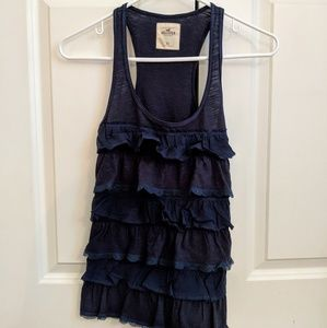 Hollister Ruffled Navy Tank Top